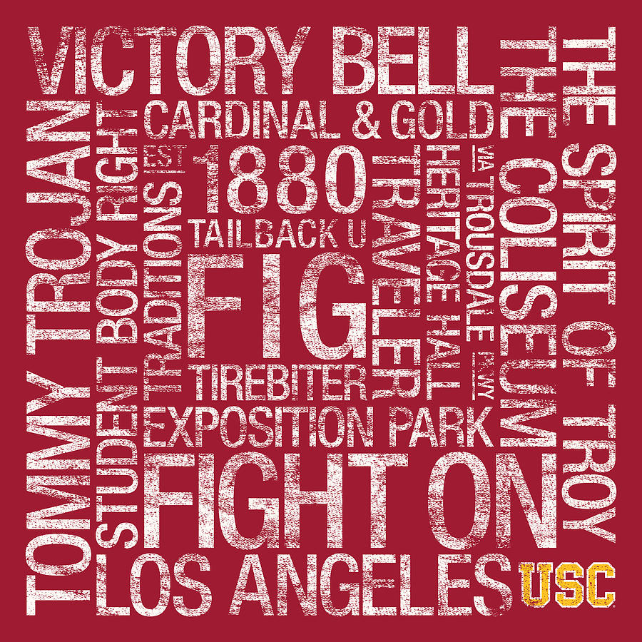 Usc College Colors Subway Art Photograph