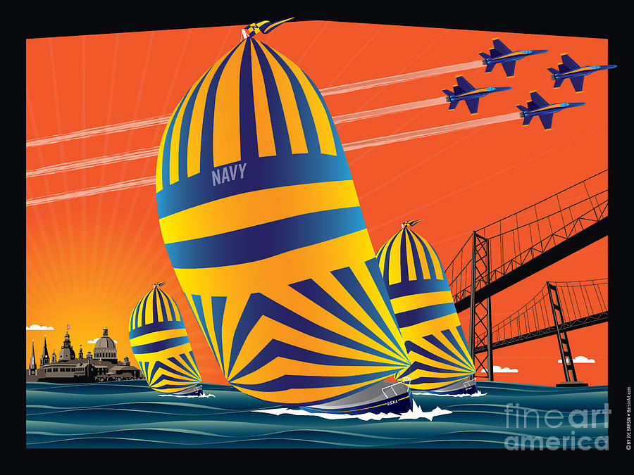 Usna Sunset Sail Digital Art  - Usna Sunset Sail Fine Art Print