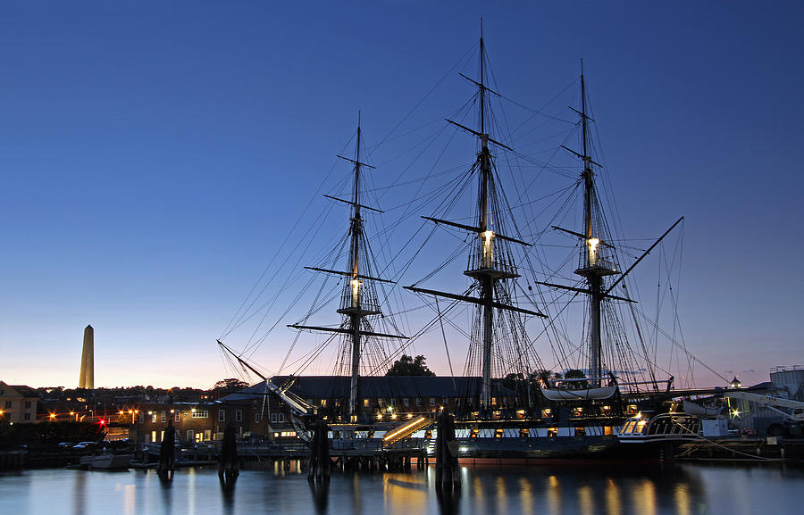 Uss Constitution And Bunker Hill Monument Photograph