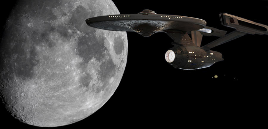 Uss Enterprise With The Moon And Jupiter Photograph