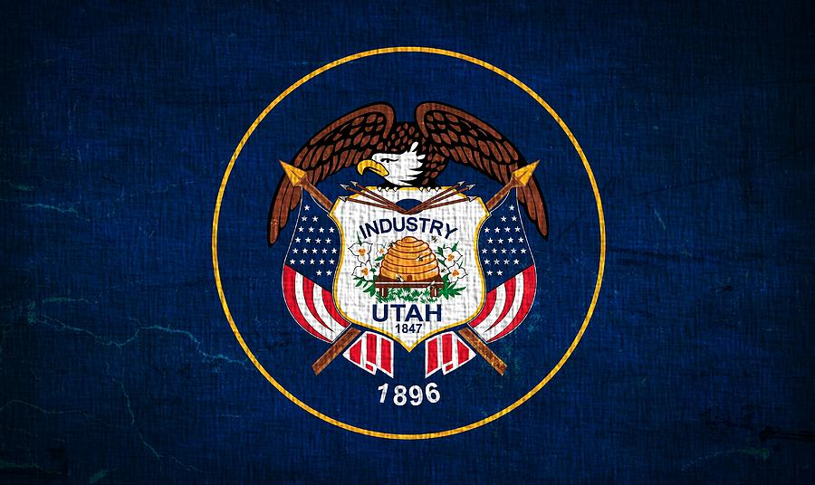 Utah State Flag On Canvas Photograph
