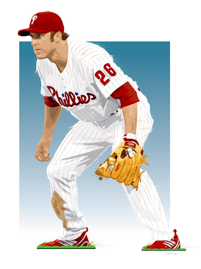 Chase Utley Digital Art - Utley In The Ready by Scott Weigner