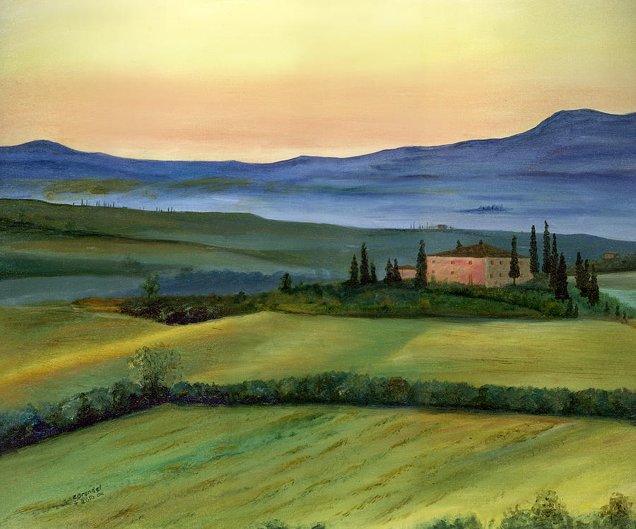Italy Tuscany Italian Landscape Original Oil Painting Art Cecilia Brendel Print Canvas Metal Lovely Beautiful Framed  Painting - Val D by Cecilia Brendel