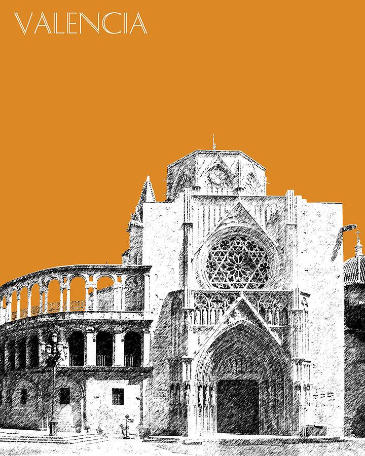 Valencia Skyline Valencia Cathedral - Dark Orange Digital Art