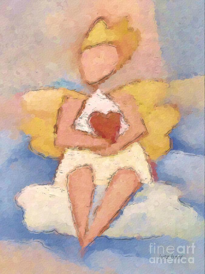 Angel Painting - Valentine Angel by Lutz Baar