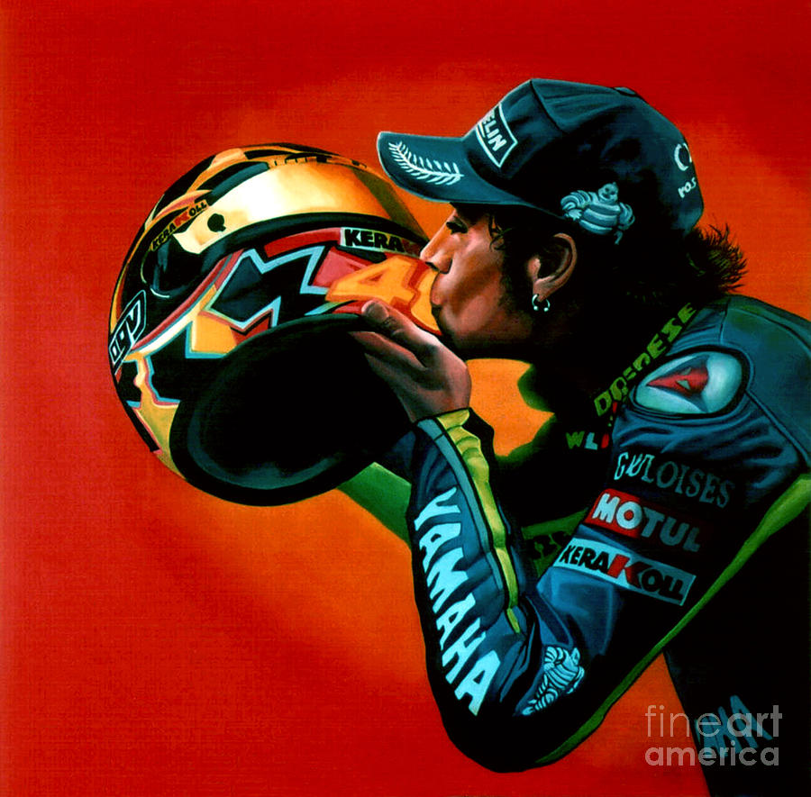 Valentino Rossi Painting - Valentino Rossi Portrait by Paul Meijering