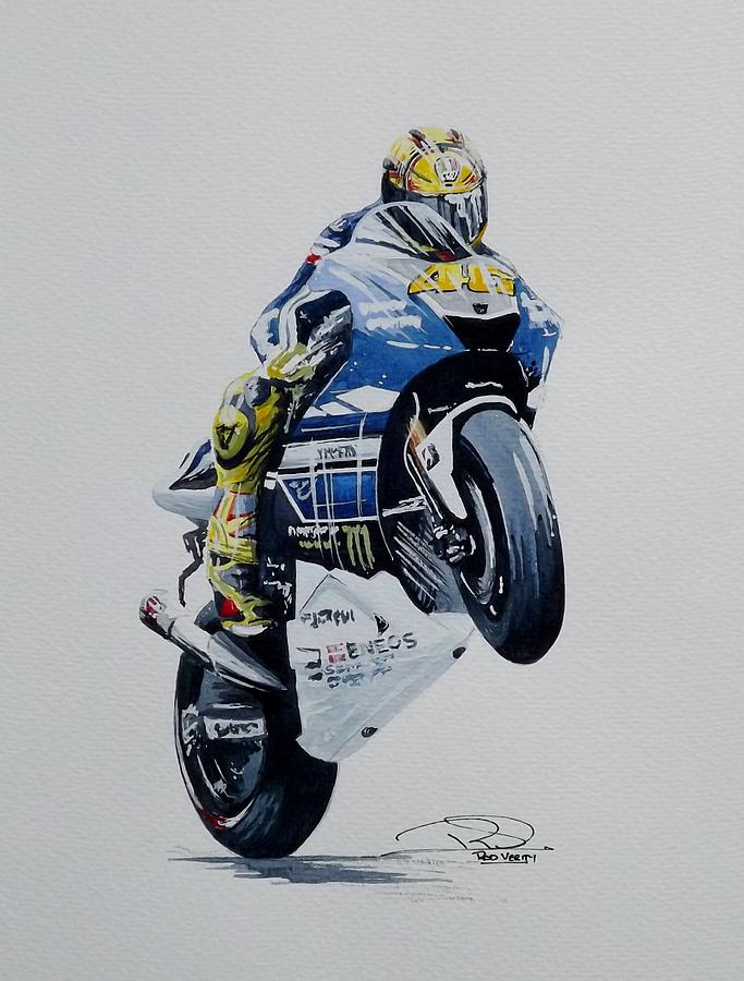 Valentino Rossi Painting by Rod Verity