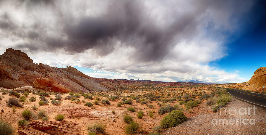 Valley Of Fire With Dramatic Sky Photograph  - Valley Of Fire With Dramatic Sky Fine Art Print