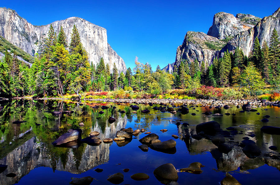 Blue Sky Photograph - Valley View Reflection Yosemite National Park by Scott McGuire