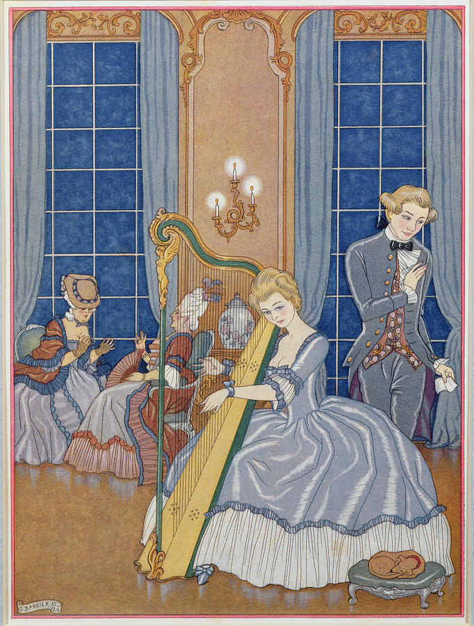 Stencil Painting - Valmont Seducing His Victim by Georges Barbier