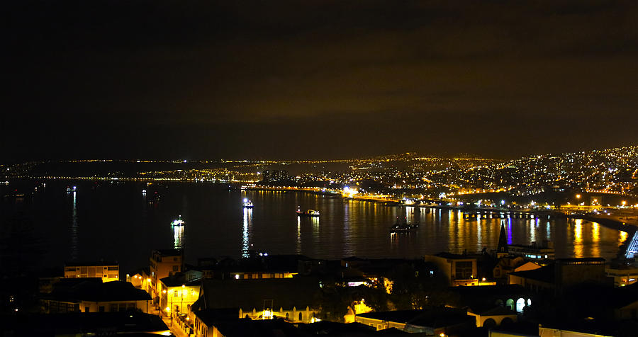 Valparaiso Harbor At Night Photograph  - Valparaiso Harbor At Night Fine Art Print