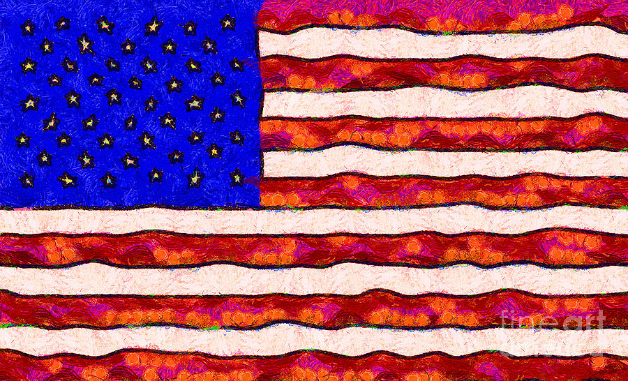 Van Gogh.s Starry American Flag Photograph  - Van Gogh.s Starry American Flag Fine Art Print