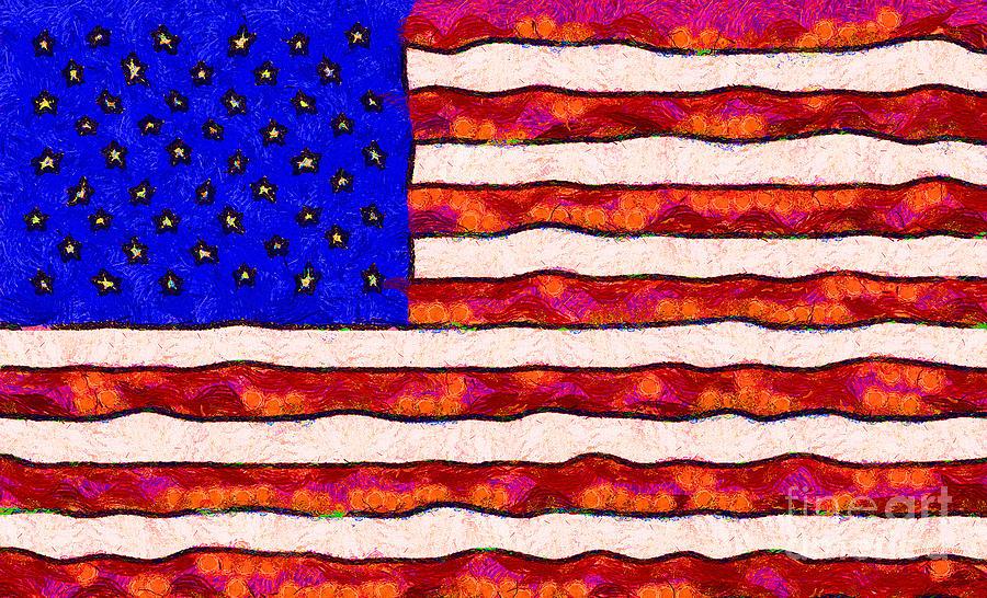Van Gogh.s Starry American Flag Photograph