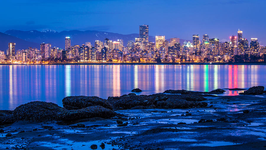 Vancouver City Twilight From Jericho Beach Photograph  - Vancouver City Twilight From Jericho Beach Fine Art Print
