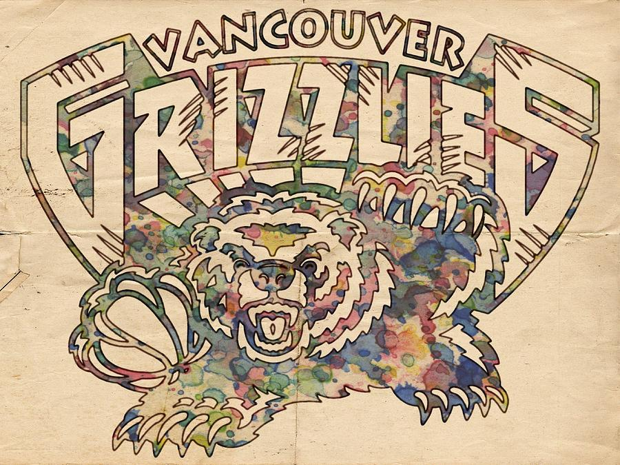 Vancouver Grizzlies Retro Poster Painting