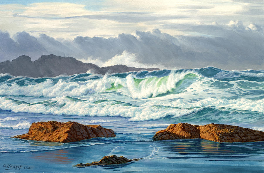 Seascape Painting - Vancouver Island Surf by Paul Krapf