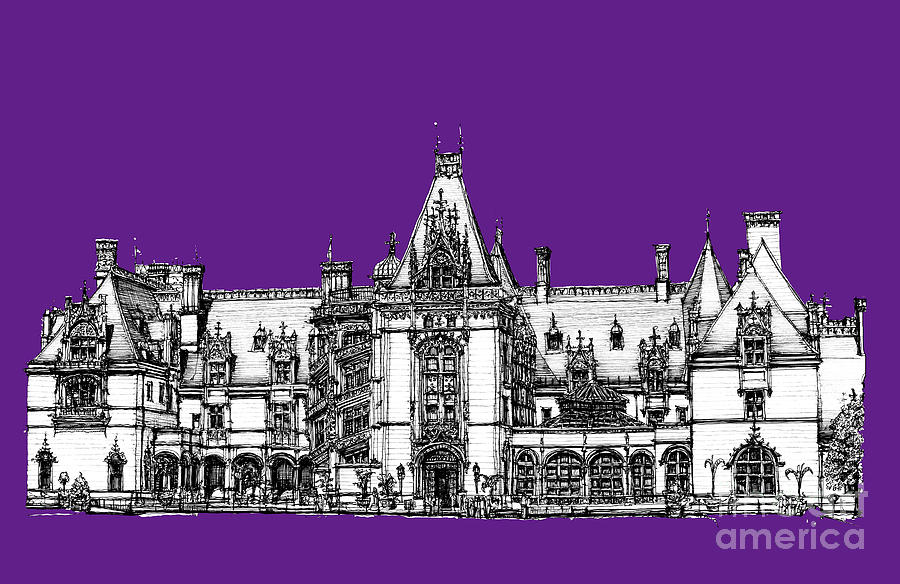 Vanderbilts Biltmore In Purple Drawing  - Vanderbilts Biltmore In Purple Fine Art Print
