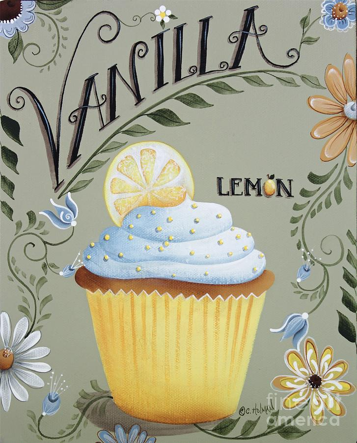 Vanilla Lemon Cupcake Painting