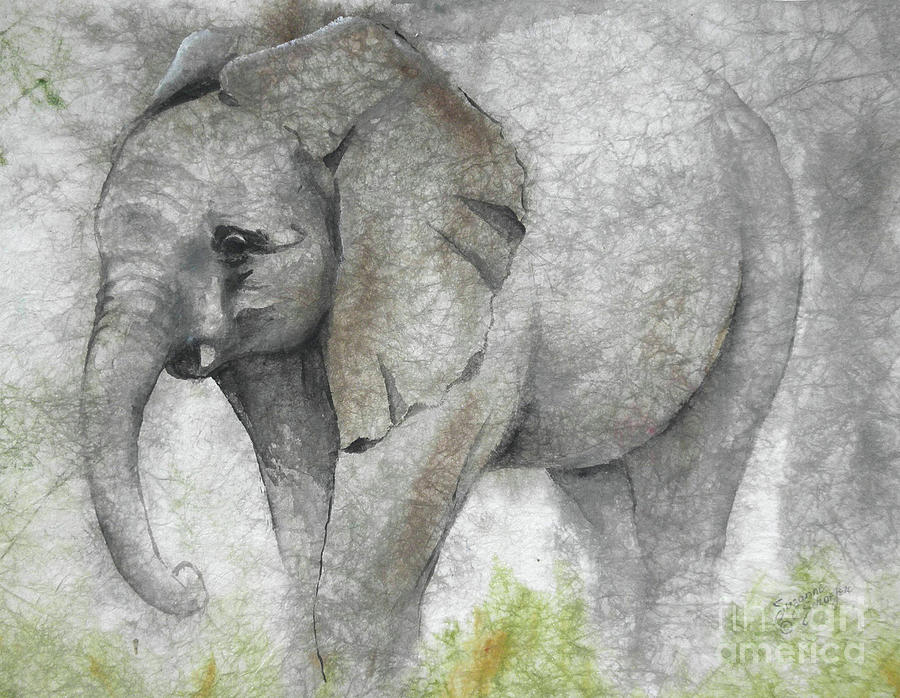 Vanishing Thunder Series-baby Elephant I Painting  - Vanishing Thunder Series-baby Elephant I Fine Art Print