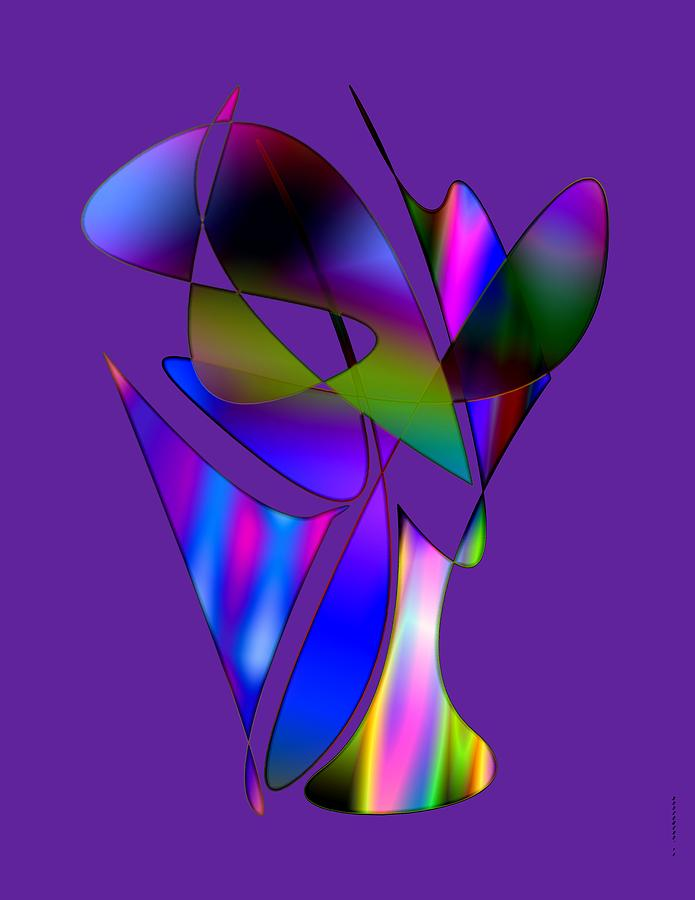 Vase And Flowers In Abstract Designs Digital Art