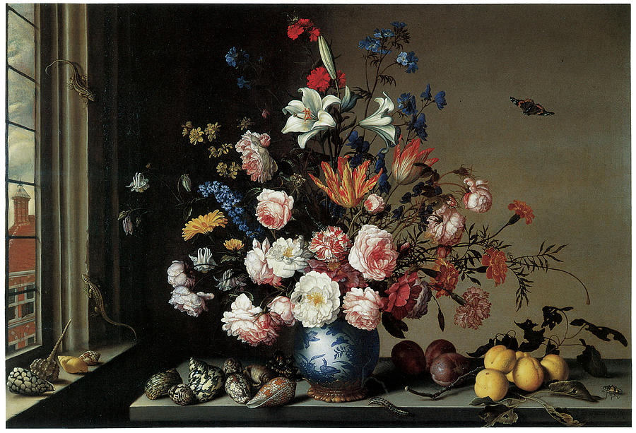 Vase Of Flowers By A Window Painting