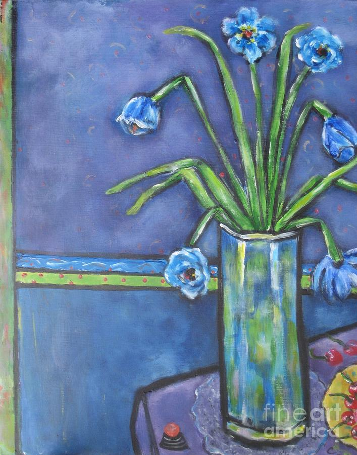 Still Life Floral Painting - Vase With Blue Flowers And Cherries by Chaline Ouellet