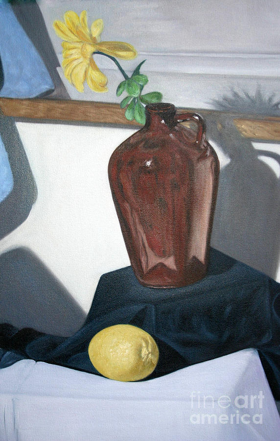 Vase With Flower And Lemon Still Painting