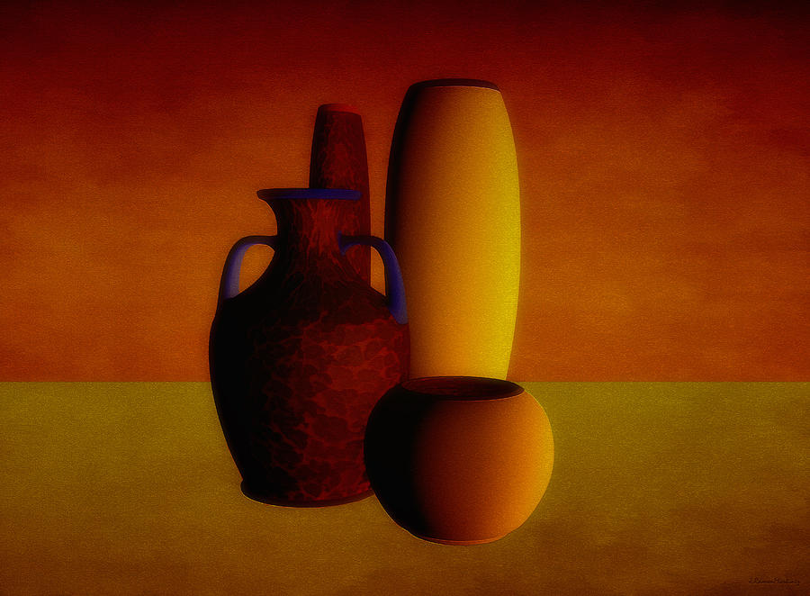 Vases In Warm Tones Digital Art  - Vases In Warm Tones Fine Art Print