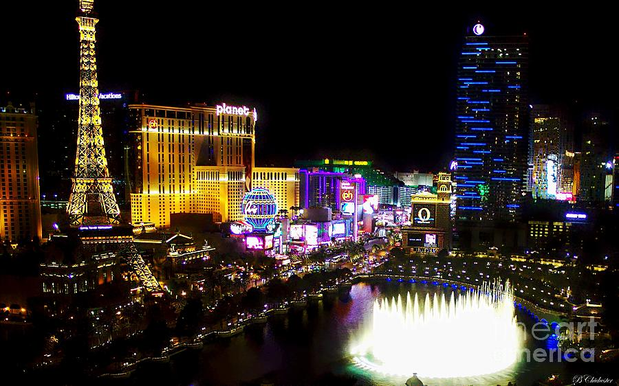 Vegas At Night Digital Art