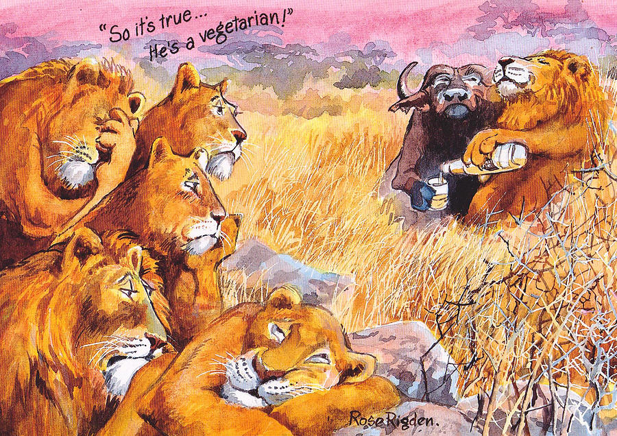 Vegetarian Lion Painting by Rose Rigden