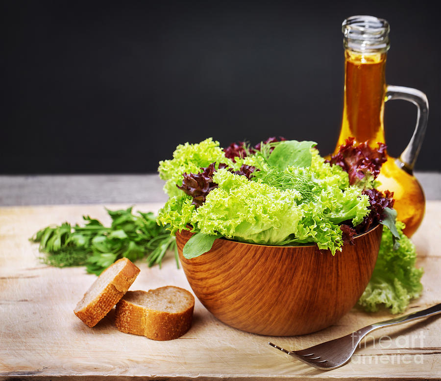 Vegetarian Salad And Olive Oil Photograph
