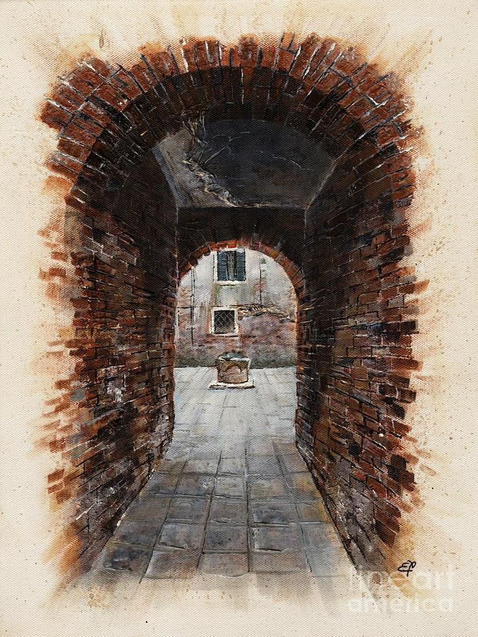 Venetian Courtyard 01 Elena Yakubovich Painting
