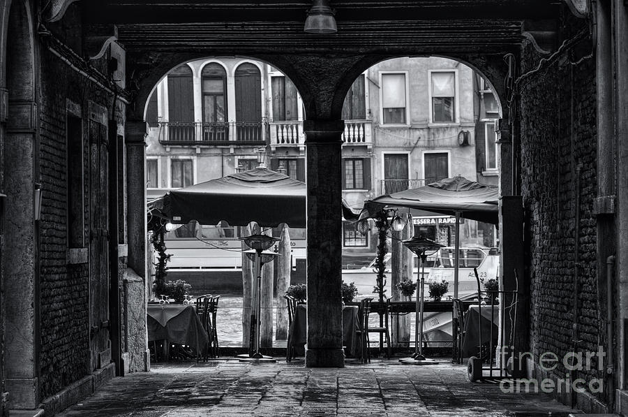 Venetian Street Black And White Photograph