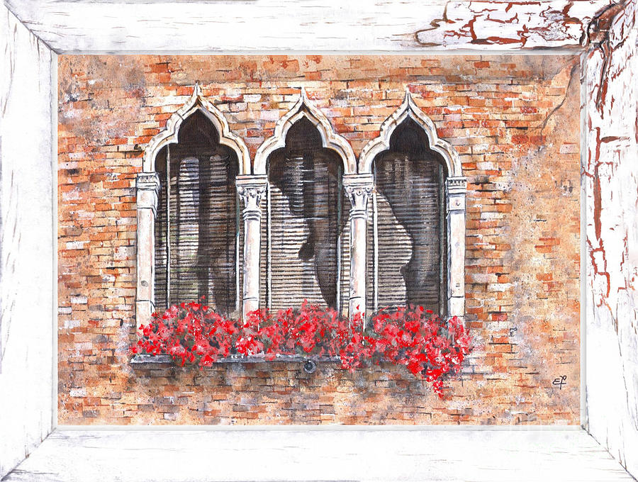 Venetian Windows 06 Elena Yakubovich Painting  - Venetian Windows 06 Elena Yakubovich Fine Art Print
