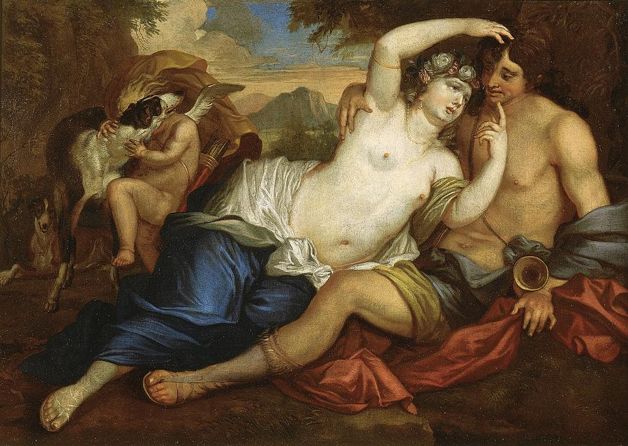 Venus; Adonis; Male; Female; God; Goddess; Myth; Mythological; Greek; Roman; Mythology; Northern; Baroque; Love; Nude; Reclining Painting - Venus And Adonis by Jan Boeckhorst