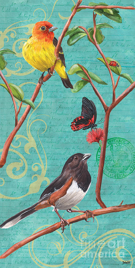 Bird Painting - Verdigris Songbirds 2 by Debbie DeWitt