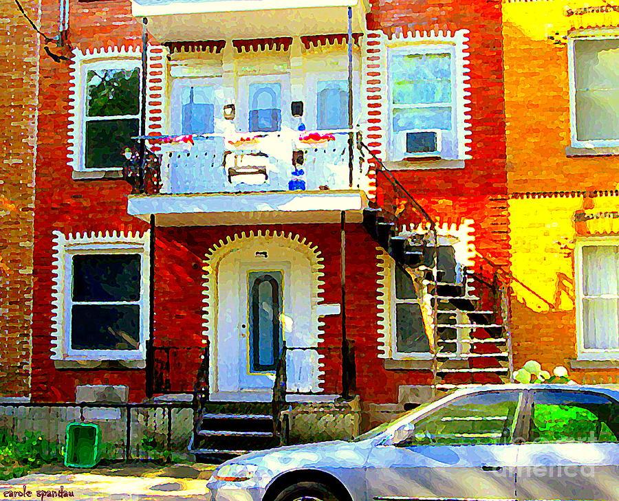 Verdun City Street Triplex Apartment Outdoor Winding Stairs Montreal Scenes Primary Colors C Spandau Painting