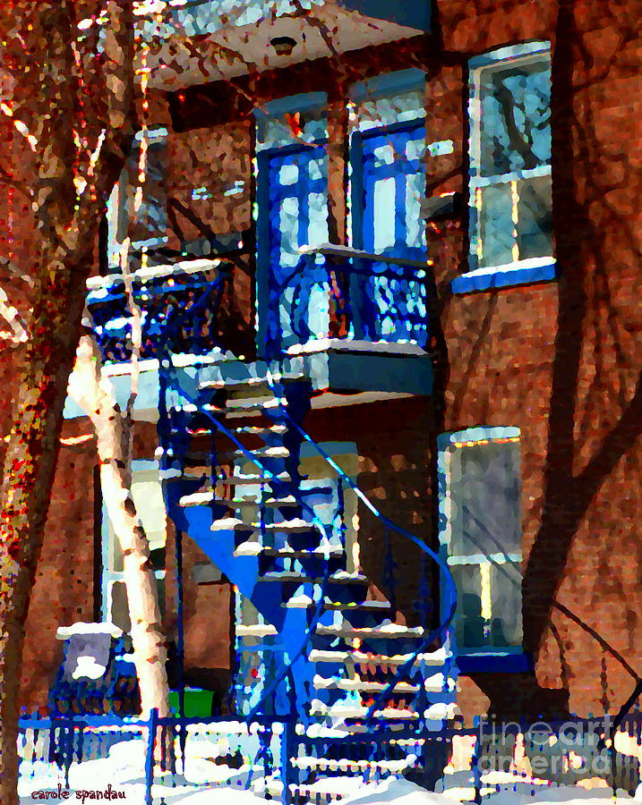 Verdun Duplex Stairs With Birch Tree Montreal Winding Staircases Winter City Scene Carole Spandau Painting