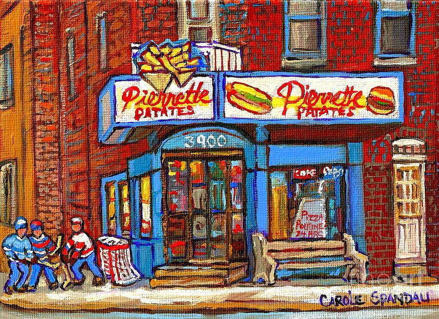 Verdun Famous Restaurant Pierrette Patates - Street Hockey Game At 3900 Rue Verdun - Carole Spandau Painting