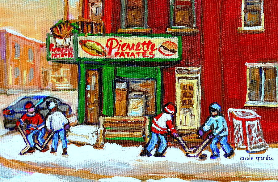 Verdun Hockey Game Corner Landmark Restaurant Depanneur Pierrette Patate Winter Montreal City Scen Painting