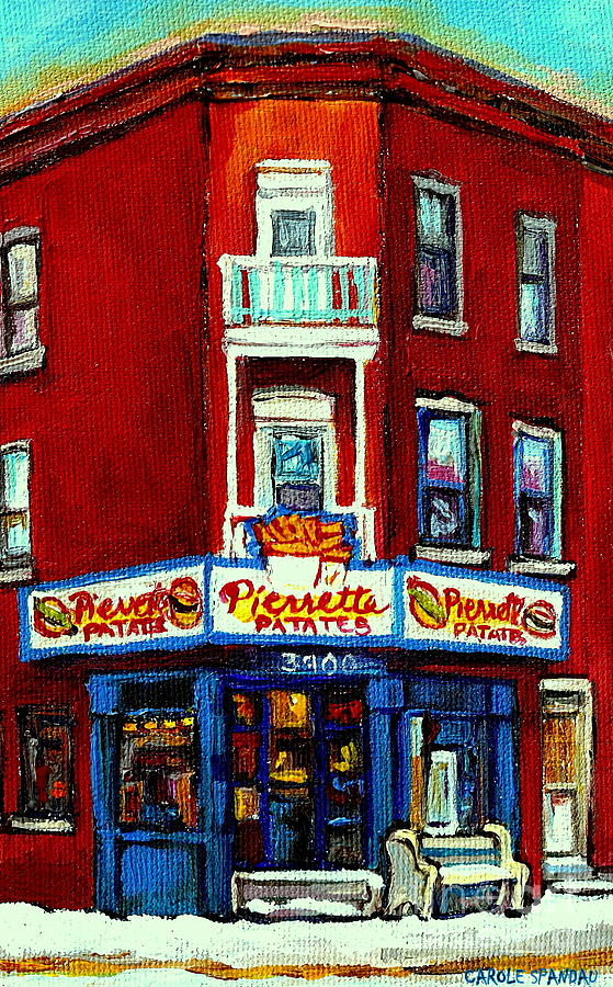 Verdun Landmarks Pierrette Patates Resto Cafe  Deli Hot Dog Joint- Historic Marquees -montreal Scene Painting