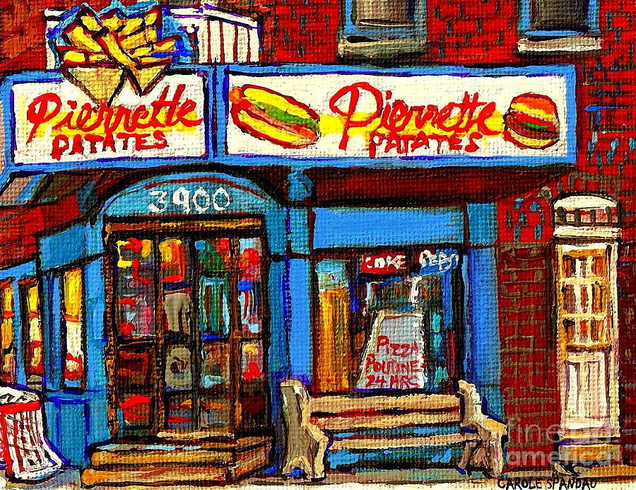 Verdun Restaurants Pierrette Patates Pizza Poutine Pepsi Cola Corner Cafe Depanneur - Montreal Scene Painting