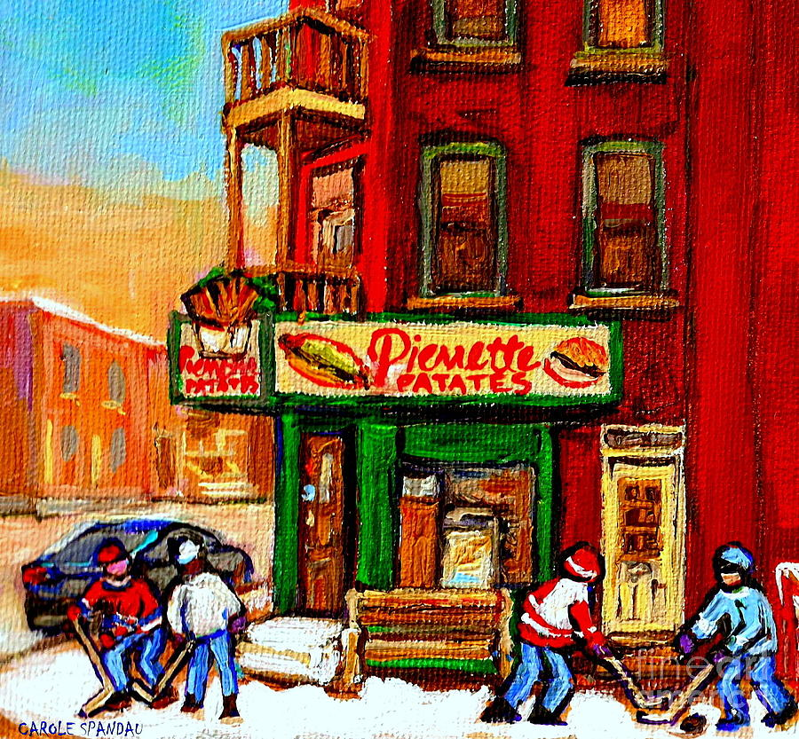 Verdun Street Hockey Pierrettes Restaurant Rue 3900 Verdun -landmark Montreal Hockey Art Work Scenes Painting
