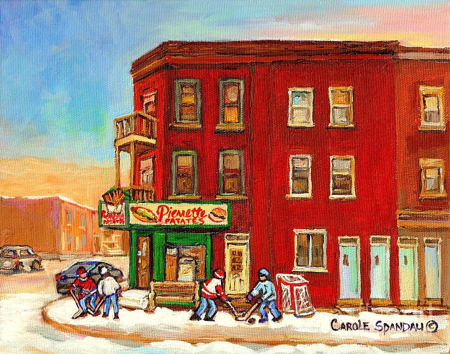Verdun Winter Scenes-pierrette Patates Deli - Verdun Hockey Art By Carole Spandau Painting