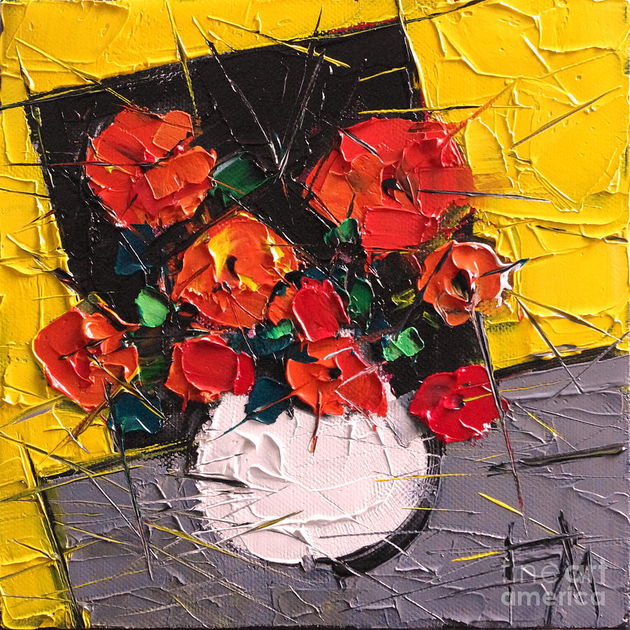 Vermilion Flowers On Black Square Painting  - Vermilion Flowers On Black Square Fine Art Print