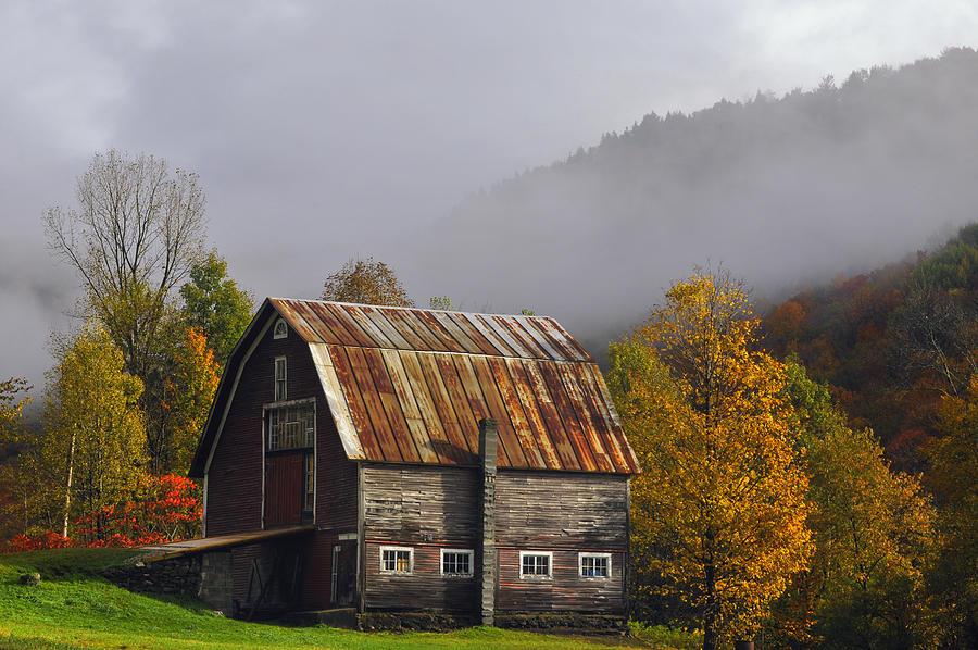 Joseph Rossbach Photograph - Vermont Autumn Barn by Joseph Rossbach