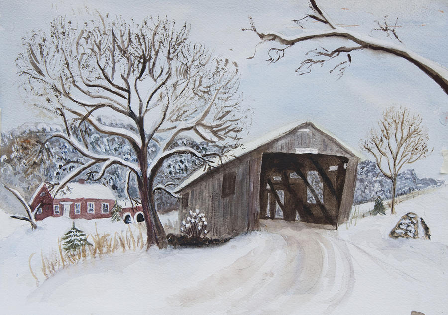 Vermont Covered Bridge In Winter Painting