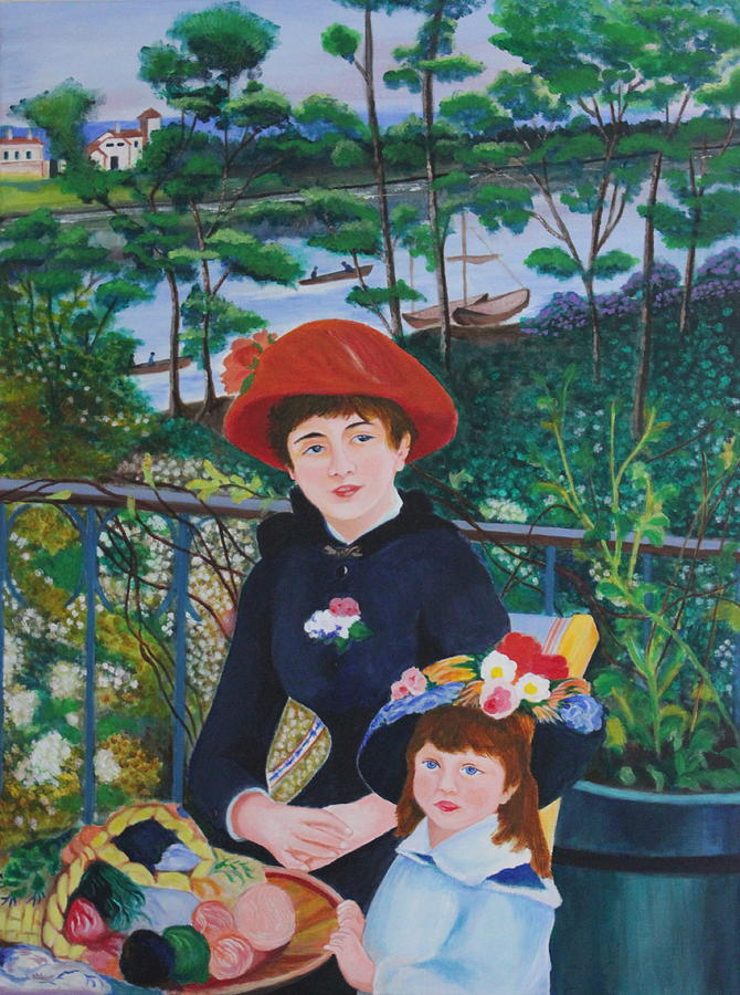 Version Of Renoirs Two Sisters On The Terrace Painting  - Version Of Renoirs Two Sisters On The Terrace Fine Art Print