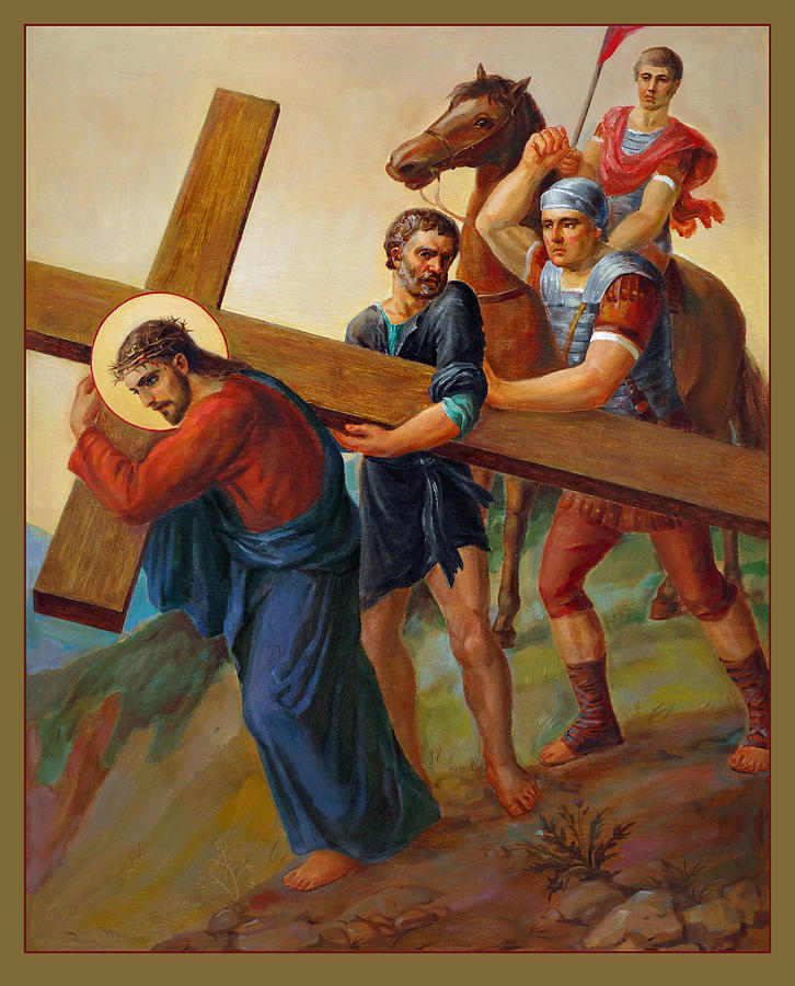 Via Dolorosa 5. Stations Of The Cross Painting  - Via Dolorosa 5. Stations Of The Cross Fine Art Print