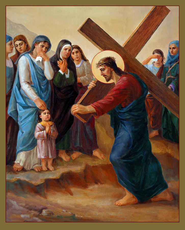Via Dolorosa 8. Stations Of The Cross Painting  - Via Dolorosa 8. Stations Of The Cross Fine Art Print